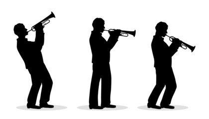 sequence of trumpet men silhouette playing Wall mural