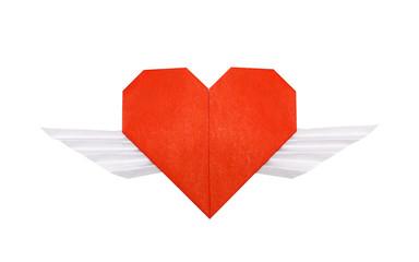 Origami winged heart isolated on white background