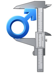 Caliper measures size of male sign. Vector gender concept