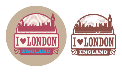 Stamp set with text Love London, England inside, vector
