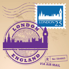 Stamp set with text London, England inside, vector