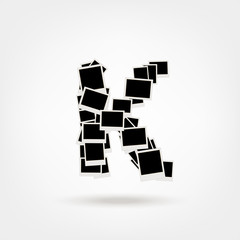 Letter K made from photo frames, insert your photos