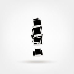 Exclamation mark made from photo frames, insert your photos
