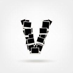 Letter V made from photo frames, insert your photos