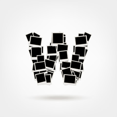 Letter W made from photo frames, insert your photos