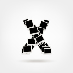 Letter X made from photo frames, insert your photos