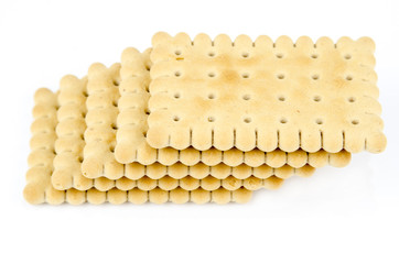 Stack of classic biscuits - Isolated on white