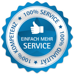 Button Siegel 100% Service 100% Qualität 100% Kompetenz blau