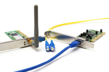 wireless card, lan card and optical cable