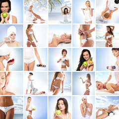 A collage of young women relaxing on spa procedures