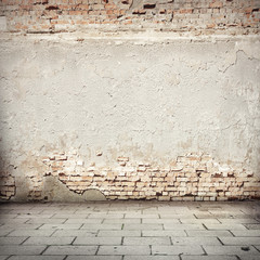 red brick wall texture road sidewalk abandoned urban background