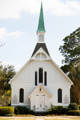 Small White Church with Green Steeple