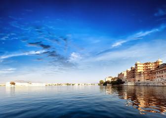 Pichola lake in India Udaipur Rajasthan. Maharajah palace
