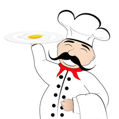 chef with scrambled eggs on a plate