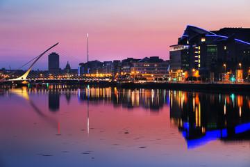 North bank of the river Liffey at Dublin City Center at night