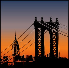 Brooklyn Bridge and the Empire State Building