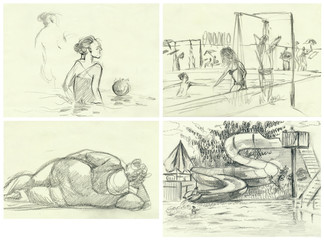 Afternoon at the swimming pool. An hand drawn illustrations