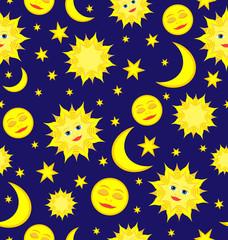 Sun, Moon, and Stars Celestial Seamless Pattern Vector backgroun