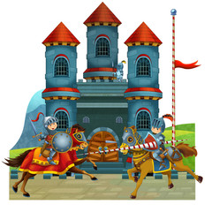 Foto op Aluminium Ridders The cartoon medieval illustration for the children