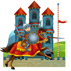 Spoed Fotobehang Ridders The cartoon medieval illustration for the children