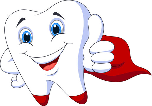 Cute cartoon superhero tooth