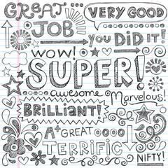 Good Work Super Student Praise Phrases Back to School Doodles