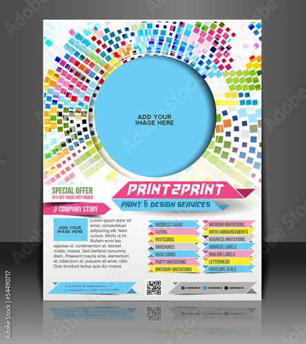 Printing Press Color Management Flyer Magazine Cover