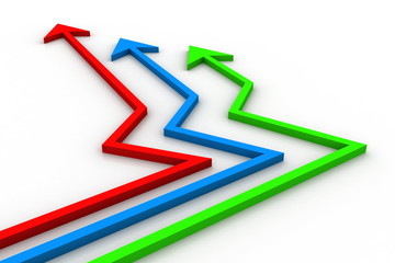colorful Arrows showing business growth
