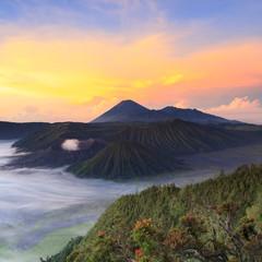 Fotobehang Indonesië Bromo Mountain in Tengger Semeru National Park at sunrise, East