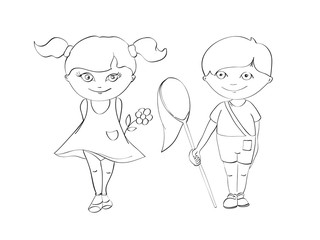 contour of boy and girl for coloring on white background