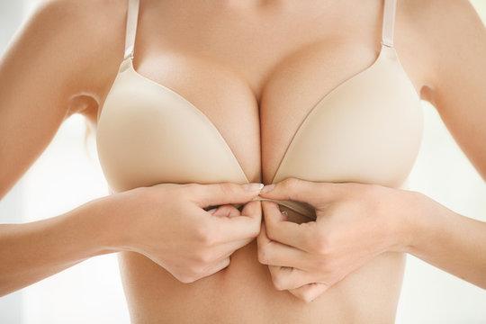 Wearing bra. Close-up of women wearing bra