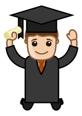 Graduate Boy - Cartoon Office Vector Illustration
