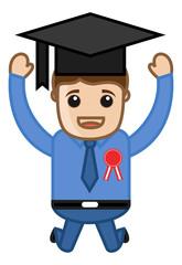 Graduation Celebration - Cartoon Office Vector Illustration