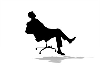 Man on chair isolated