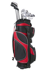 Red and black golf bag with clubs isolated on white
