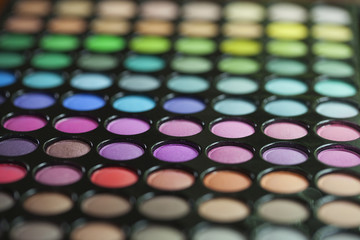 Selective focus view of an eye shadow palette