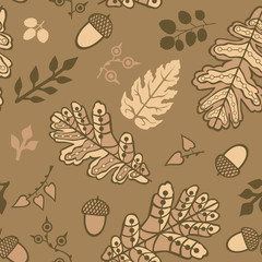 Seamless pattern with leaf and acorns. Copy that square to the s