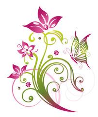 Ranke mit Blumen und Schmetterling. Sommer, grün, pink.