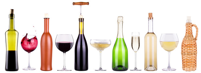 wine, champagne, beer, cocktail set