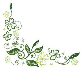 Ranke mit Kleeblättern und Blättern. Silvester, Neujahr, Glücksklee.