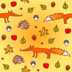 autumn seamless background with animals