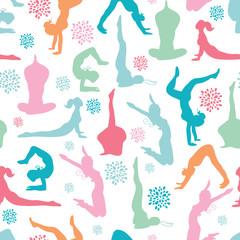 Vector fun workout fitness girls seamless pattern background