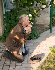 Beggar is begging for food