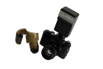 Analogkamera mit Blitz und Filmstreifen - ISOLATED