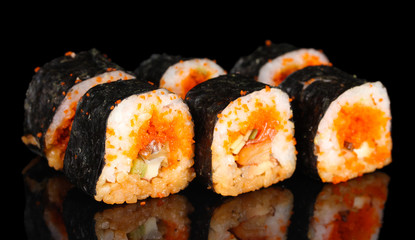 Autocollant pour porte Sushi bar delicious sushi on black background