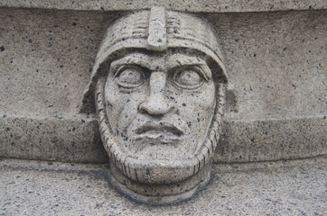 Ornamental man's head at the Town Hall gardens, Stockholm