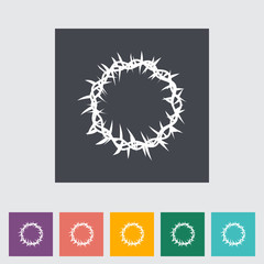 crown of thorns single flat icon.