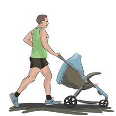 man jogging with baby stroller