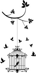 Printed roller blinds Birds in cages beauty tree silhouette with birds flying and bird in a cage