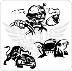 Crazy Drivers - Vinyl-ready vector illustration.